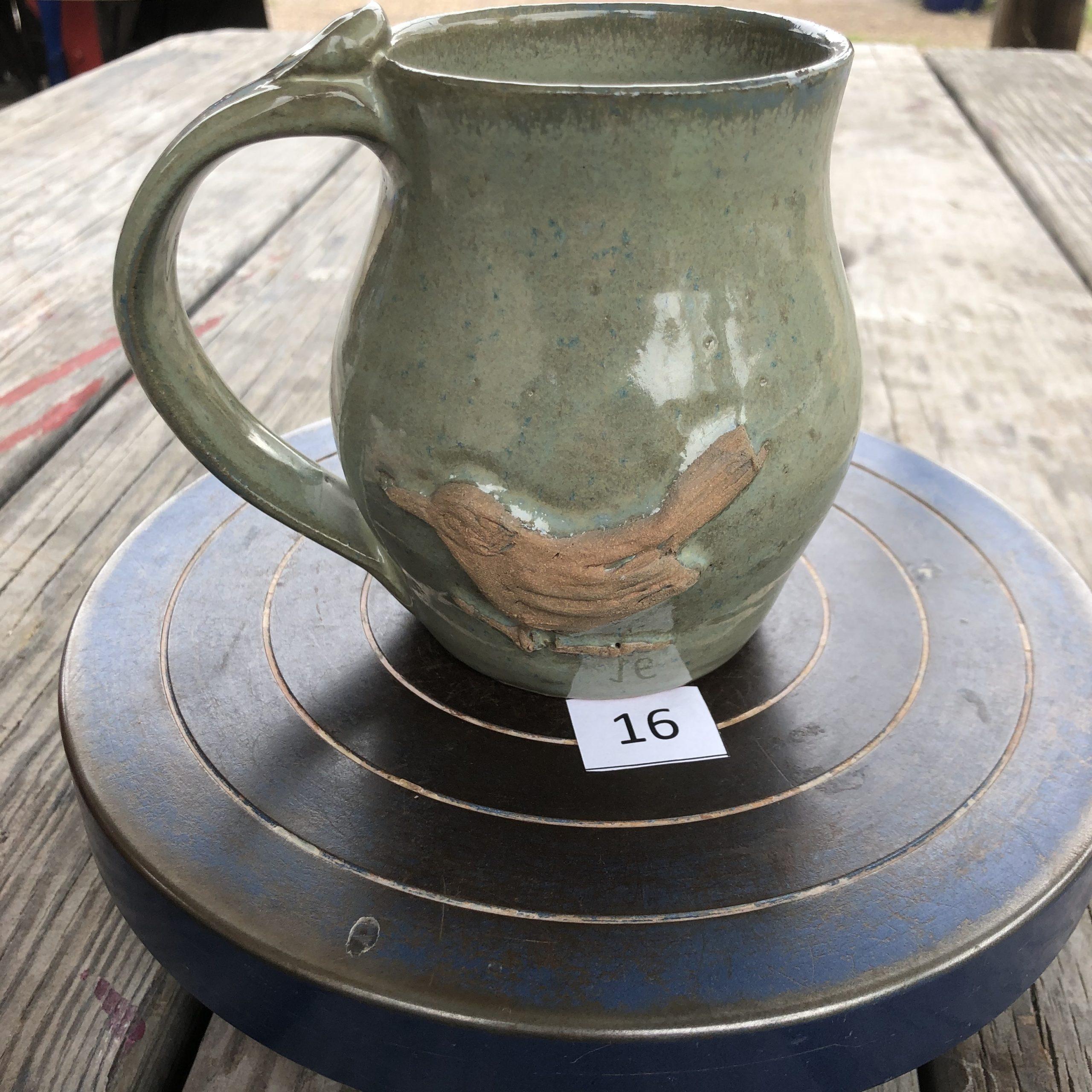 Betsy Curtiss Grey/Green with Bird Mug #16